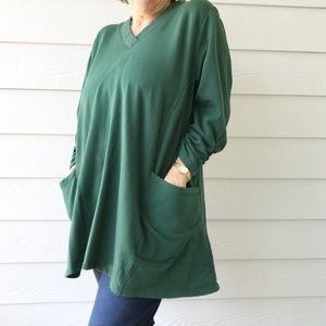 Susan Graver QVC Green Sweater Tunic Pockets